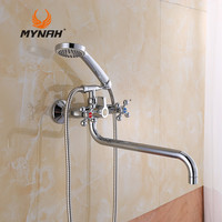 MYNAH Russia free shipping Classic Style Bathroom Faucets Tub Filler Faucets Mixer Tap Spa Waterfall Hand Shower Holder M2761