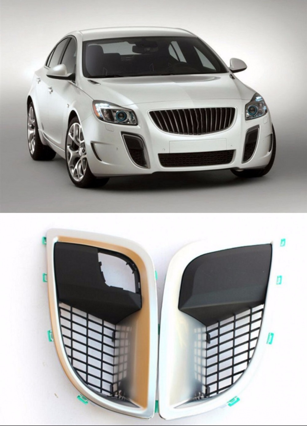 JanDeNing 2pcs Kit Car New Black Front Left + Right Bumper Fog Light Lamp Cover Grille Fit for Buick Regal/GS 2011 2016
