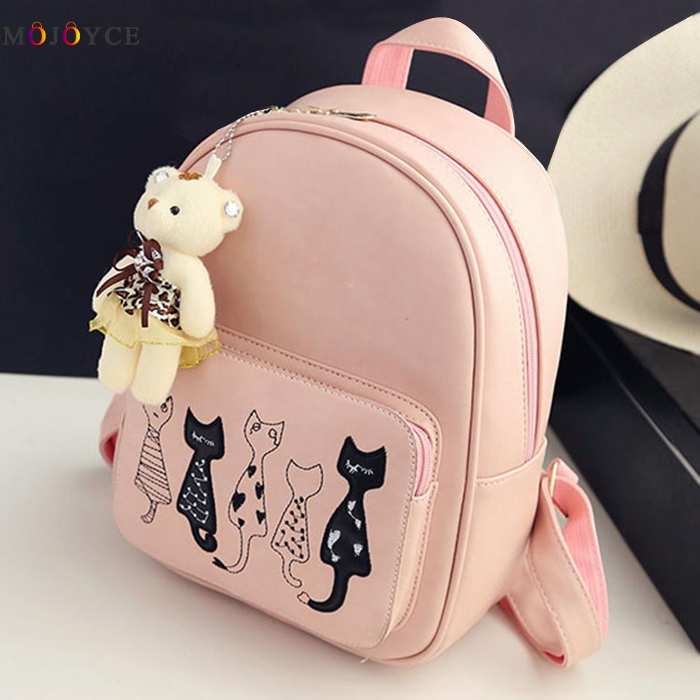 4pcs/set Small Backpacks Female School Bags For Teenage Girls Black Pink Pu Leather Women Backpack Shoulder Bag Purse Mochila #5