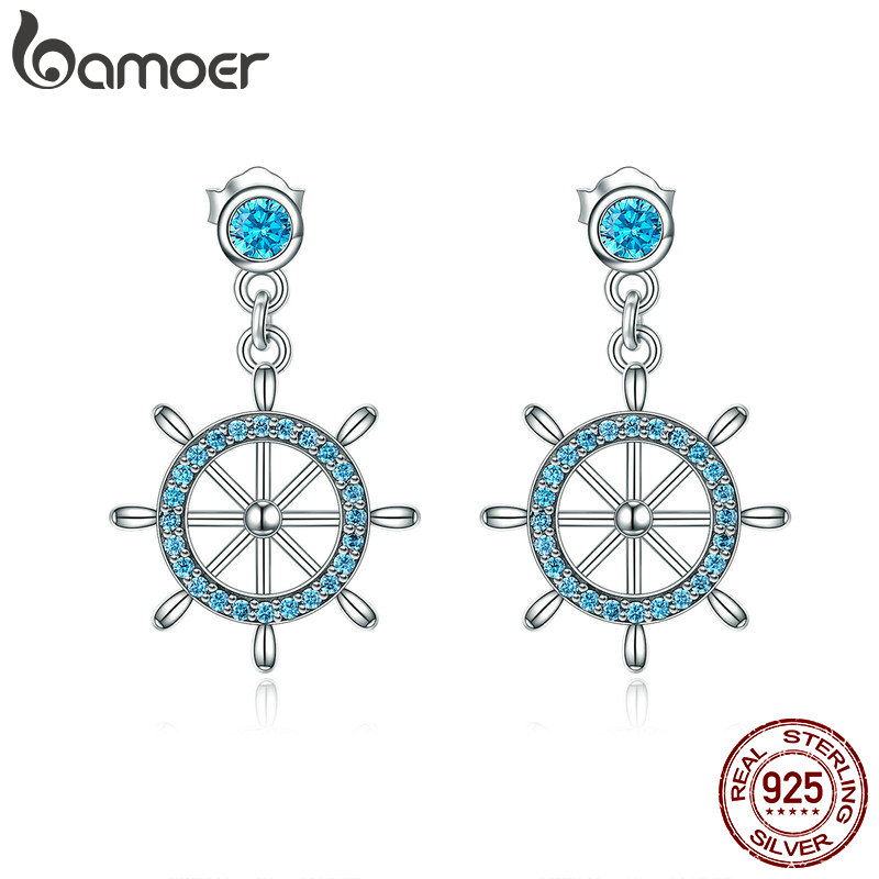 BAMOER Real 100% 925 Sterling Silver Sailing Dream Blue CZ Anchor Drop Earrings for Women Fashion Silver Jewelry S925 SCE310 jare multifunctional 6 heads home and car back waist neck cervical vertebra massager pillow body household massage cushion