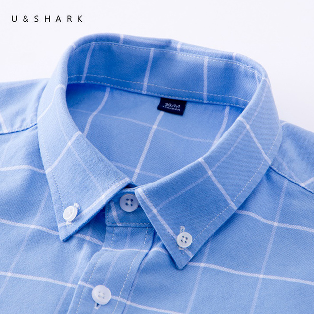 U&SHARK Men Oxford Casual Shirt Long Sleeve Slim Fit Comfortable Plaid Shirt 100% Cotton Mens Dress Shirts Brand Clothing Male 1