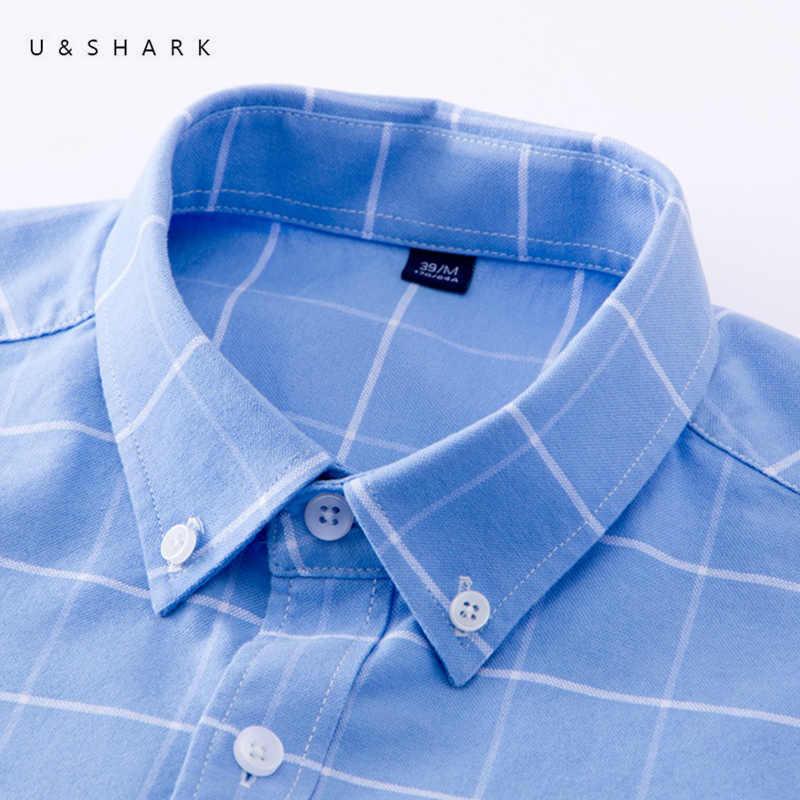 U & SHARK Для мужчин Оксфорд Повседневная рубашка с длинным рукавом Slim Fit удобные Рубашки в клетку 100% хлопок Мужская одежда рубашки брендовая мужская одежда