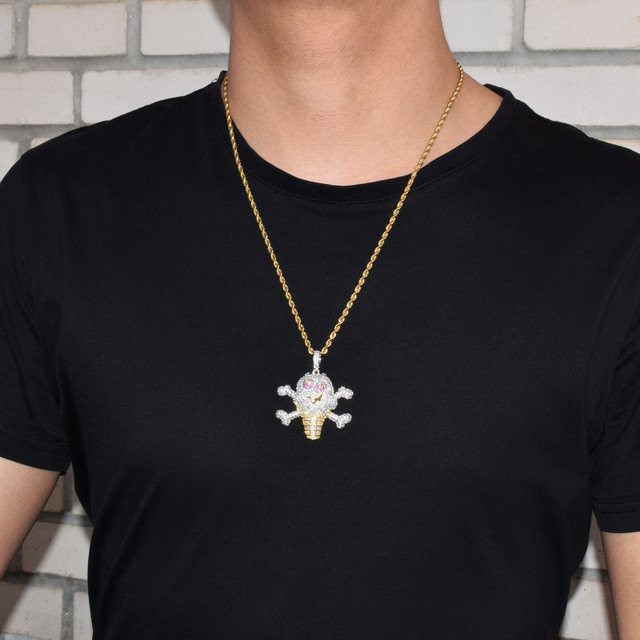 CUBIC ZIRCON SKULL CROSS BONES ICE CREAM NECKLACE
