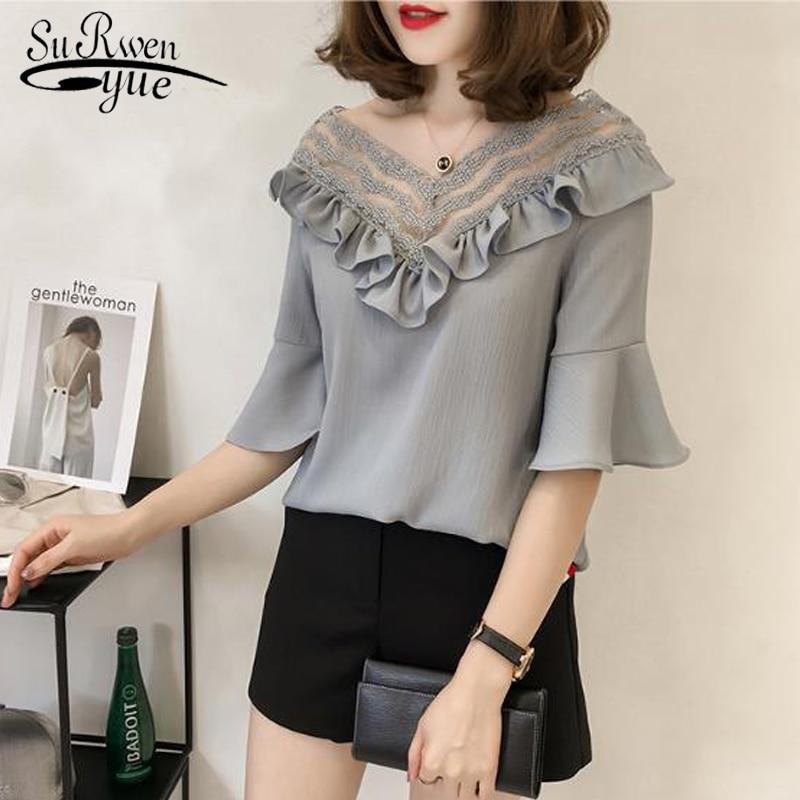 New 2018 Summer Fashion Korean Plus Size Chiffon Women Blouses Shirts Short Sleeve V-Neck Tops Female Clothing Blusas 0435 40