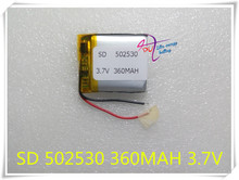 1pcs 3.7V 360mAh 502530 Lithium Polymer Li-Po Rechargeable Battery For DIY Mp3 GPS