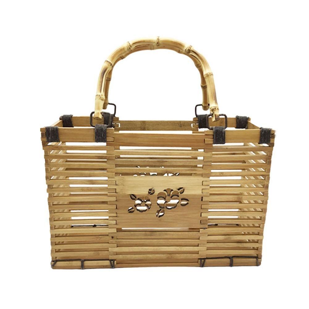 2018 Handmade Bamboo Braided Beach Bag Storage Bag Organizer Supply box for Daily Using Dropshipping