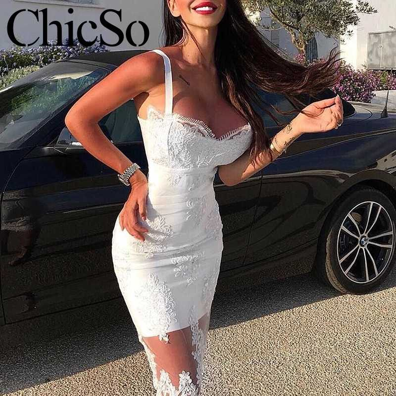 MissyChilli Sexy emboridery white lace sundress Women elegant party black club dress Summer bodycon holiday backless long dress