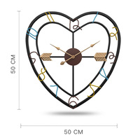 Modern Minimalist Creative Living Room Love Heart Design Wall Clock Iron Art Silent Wall Decorative Clocks for Home Decor 1pc