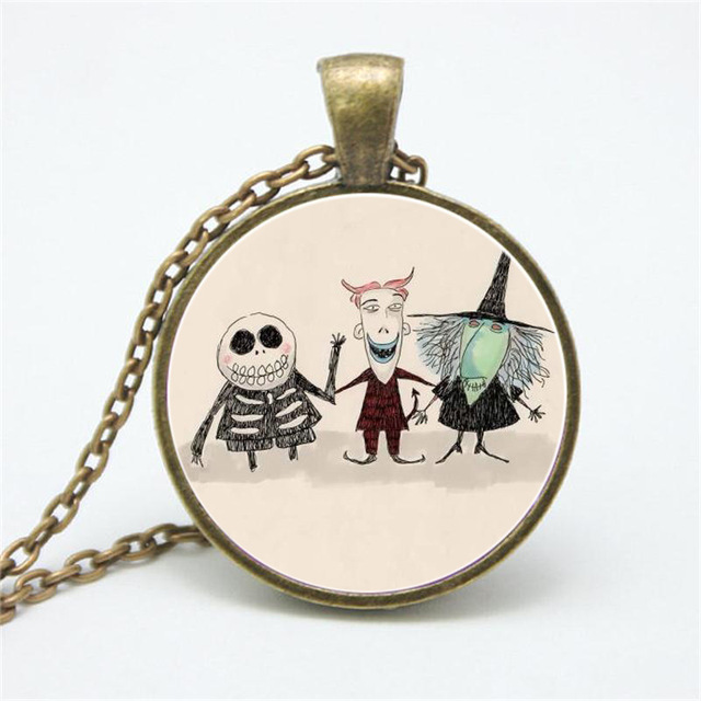 Cartoon skull witch necklaces pendants women girls fashion jewelry cartoon skull witch necklaces pendants women girls fashion jewelry long chain necklace gifts aloadofball