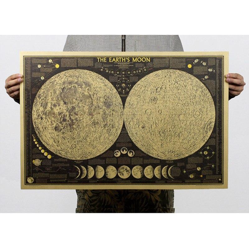 Tierra de luna Lunar Eclipse de papel Kraft Retro pared decoración de la habitac