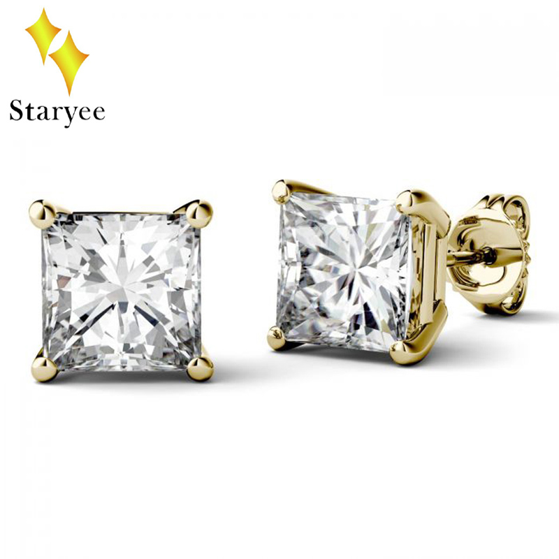Certified 1CT 14k Yellow Gold Square Moissanite Stud Earrings For Women Wedding Engagement Party Gift Fine Jewellery Dropship все цены