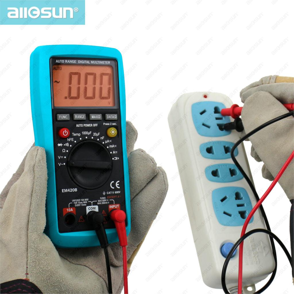 All-Sun EM420B Digital Multimeter Continuity Diode Transistor Battery Tester Measuring Current With AC/DC Multimeter