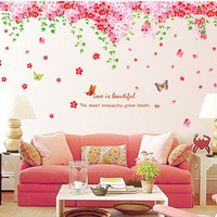 Top 92*230cm XXL Romantic Butterfly Cherry Sakura Wall Sticker for Living Room Decor TV Background Decal Sticker on Wall