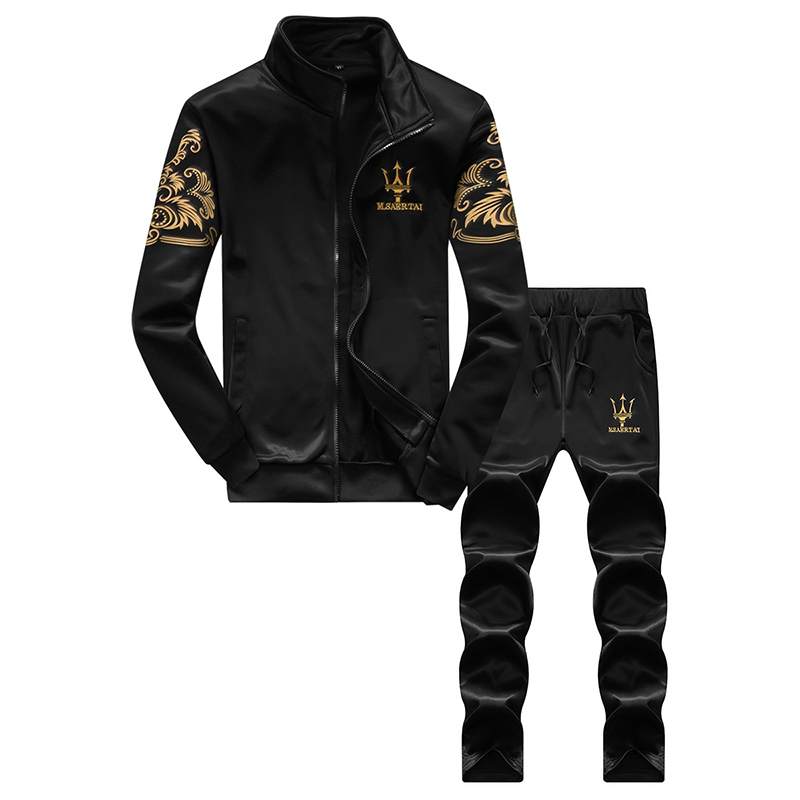 Zhuowolves Men's Sets Casual Sportswear Stand Collar Long Sleeve Elastic Drawstring Pants Suit