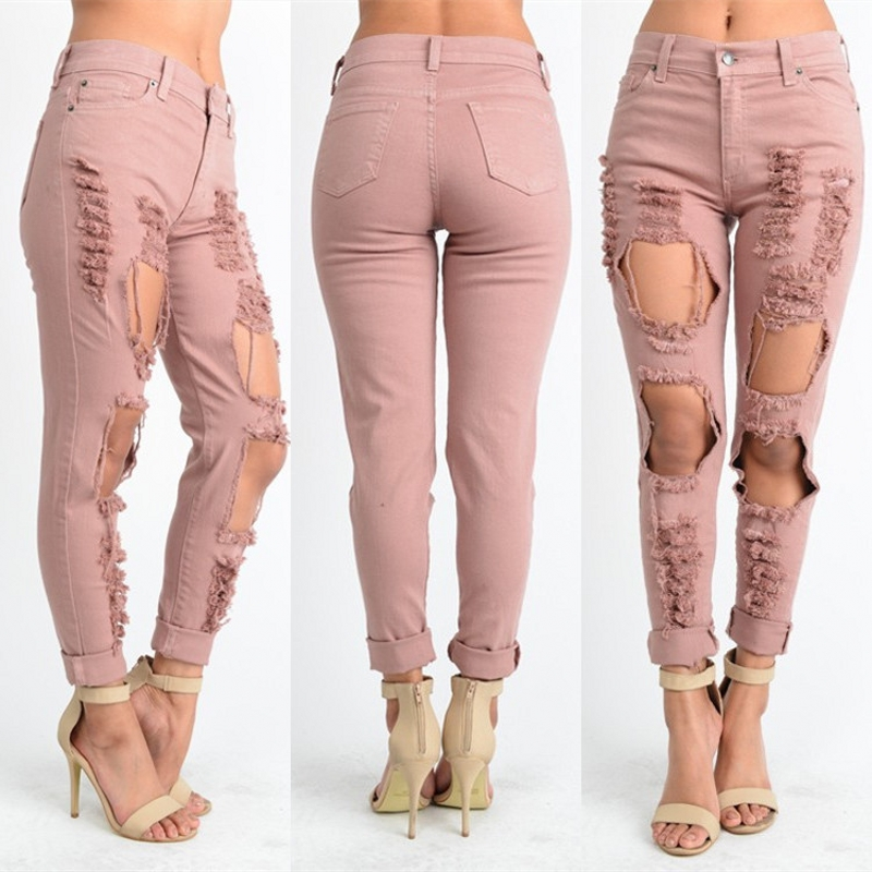 Women's Ripped Jeans 2017 Fashion Boyfriend Jeans For Woman Regular Hole Denim Pants Mid Waist Casual Pants Trousers Femme Mujer jeans woman summer ripped boyfriend jeans for women red lips denim mid waist distressed pencil pants femme casual long pants z15