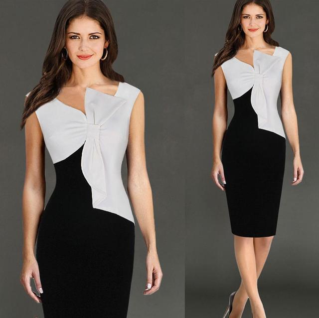 60caeaf13 Lápis sem mangas vestido preto e branco Simples bowknot V-Neck festa  vestido Abaixo do