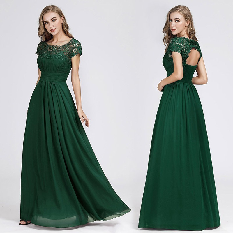 New Elegant Lace Long Prom Dresses 2019 A-Line O-Neck Short Sleeve Sexy Women Formal Evening Party Gowns Vestidos De Gala 2019