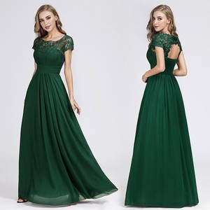 Image 3 - New Elegant Lace Long Prom Dresses 2020 A Line O Neck Short Sleeve Sexy Women Formal Evening Party Gowns Vestidos De Gala 2020