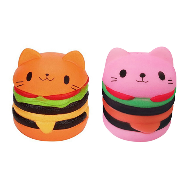 Jumbo Squishy Toys Children Slow Rising Scented Lucky Cat Hamburger Squishy Gift Stress Reliever Toys Decompression Toys