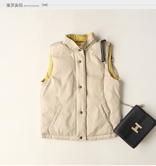2016 colores Dobles mujeres chaleco chalecos mujer abajo abrigo de pieles chaleco chalecos de las mujeres de Gilet colete feminino de inverno femme