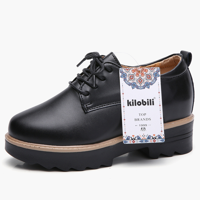 5444206358b US $25.5 49% OFF|kilobili Spring women platform sneakers shoes white  genuine leather lace up flats women thick heel flats Oxfords creepers  shoes-in ...