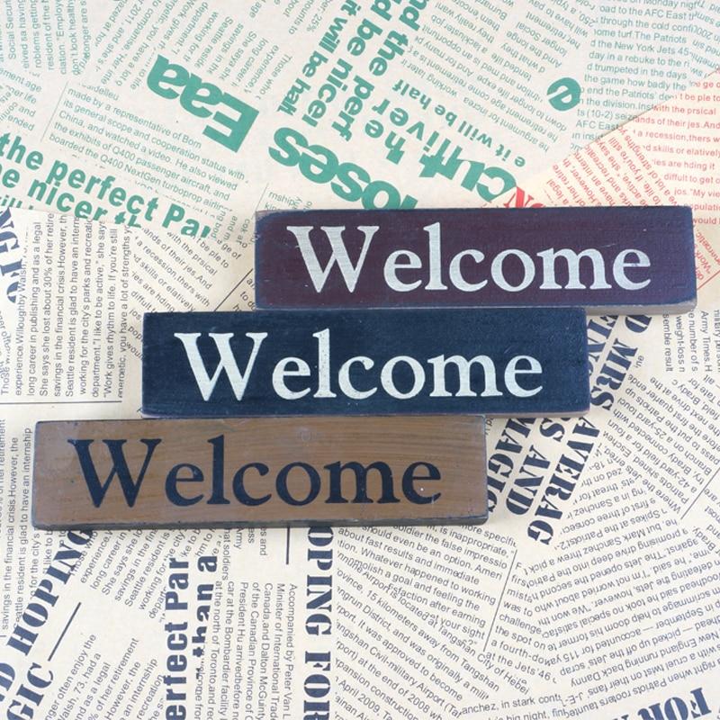 Obdélníkové dřevo uvítací deska domácí dekorace dřevo řemeslo znamení vítejte 17cm 3ks / sada doprava zdarma