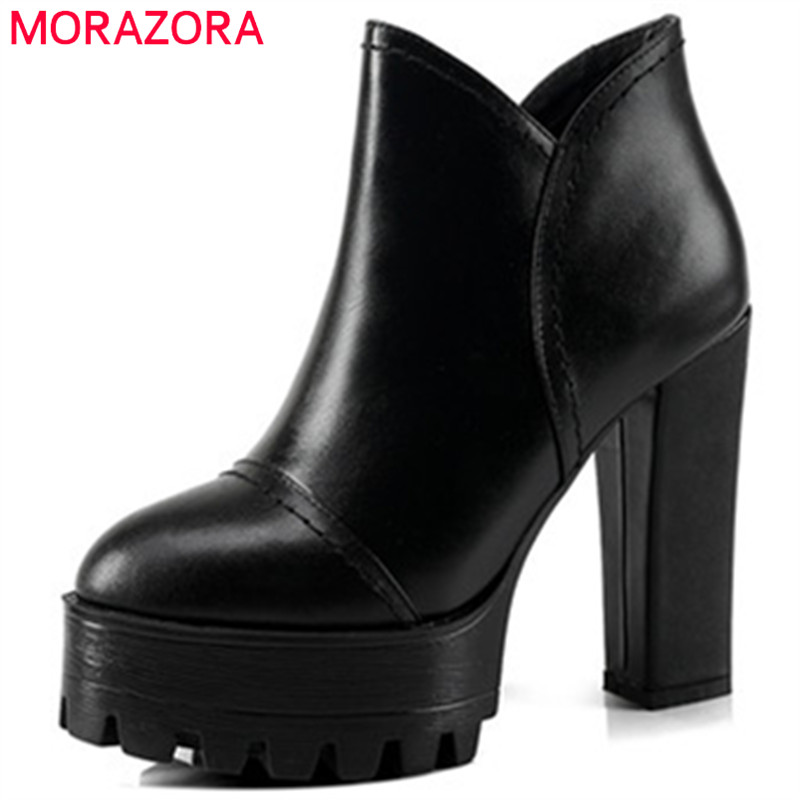 MORAZORA Top quality platform boots for women in spring autumn ankle boots high heels shoes cow leather boots zip solid memunia cow leather boots woman top quality ankle boots high heels shoes platform womens boots spring autumn black lace up