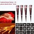 4 unidades color + 15 Plantillas de tatuajes temporales de henna Marrón 6*6 cm Arte corporal Tinta mehndi Para Pintura Corporal para hombres y mujeres