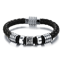 New arrival top selling Charm Men bracelet fashion trend style accessories Stainless steel leather bracelets male jewelry OPH900
