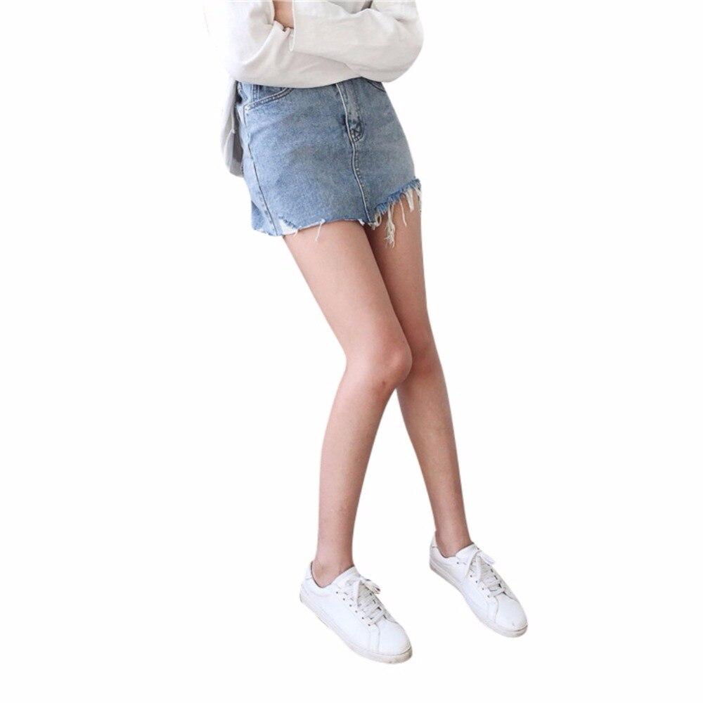 Women Summer High Waist Irregular Washed Skirts Edges Denim All Match Mini Pencil Skirt Plus Size S-L