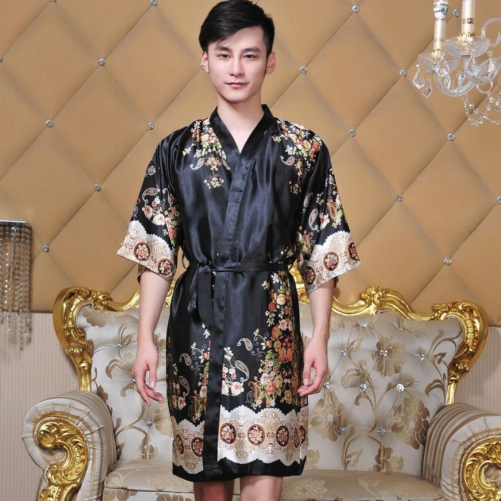 Novelty Black Male Silk Kimono Bath Robe Gown Chinese Men Rayon Nightwear Unisex V-Neck Sleepwear Pajama Pijamas