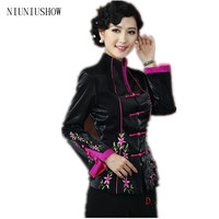 New Black Chinese Women's Silk Coat Traditional Embroidered Tang Suit Flower Jacket Free Shipping Size S M L XL XXL XXXL