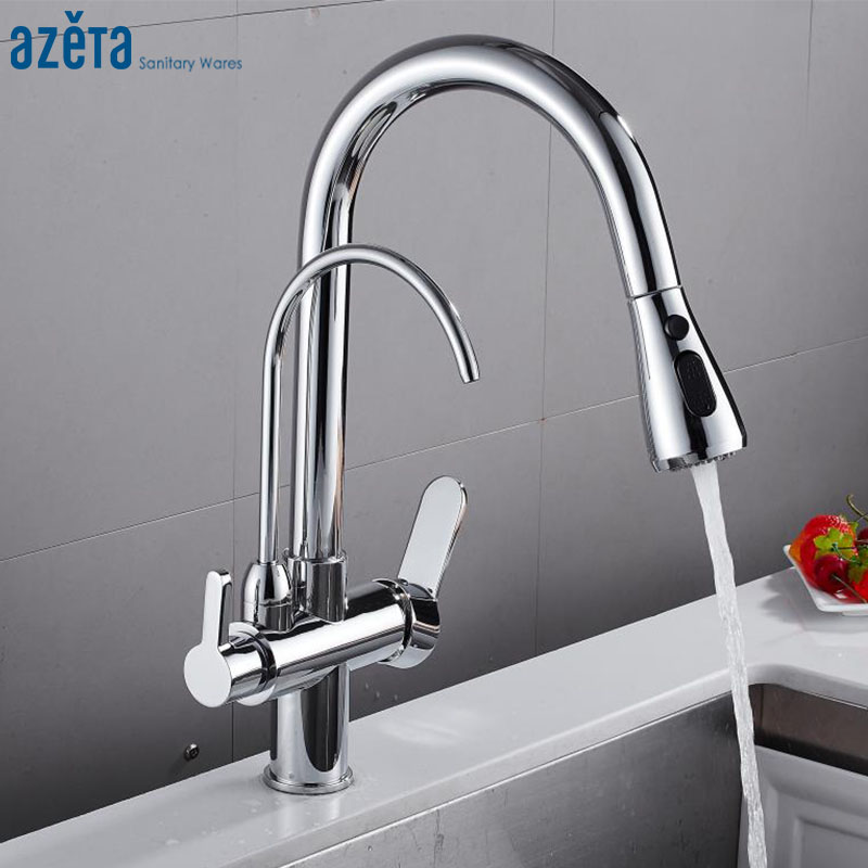 Azeta Kitchen Faucets Water Purification For Kitchen 3 Way Faucet Drinking Water Kitchen Sink Tap torneira