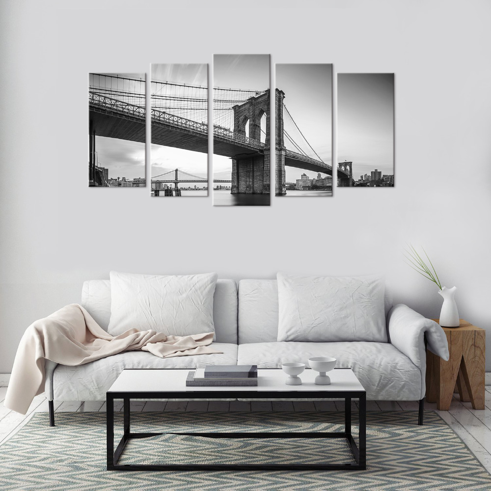 5 Panels City View Brooklyn Bridge New York Scenery Living Room Wall ...