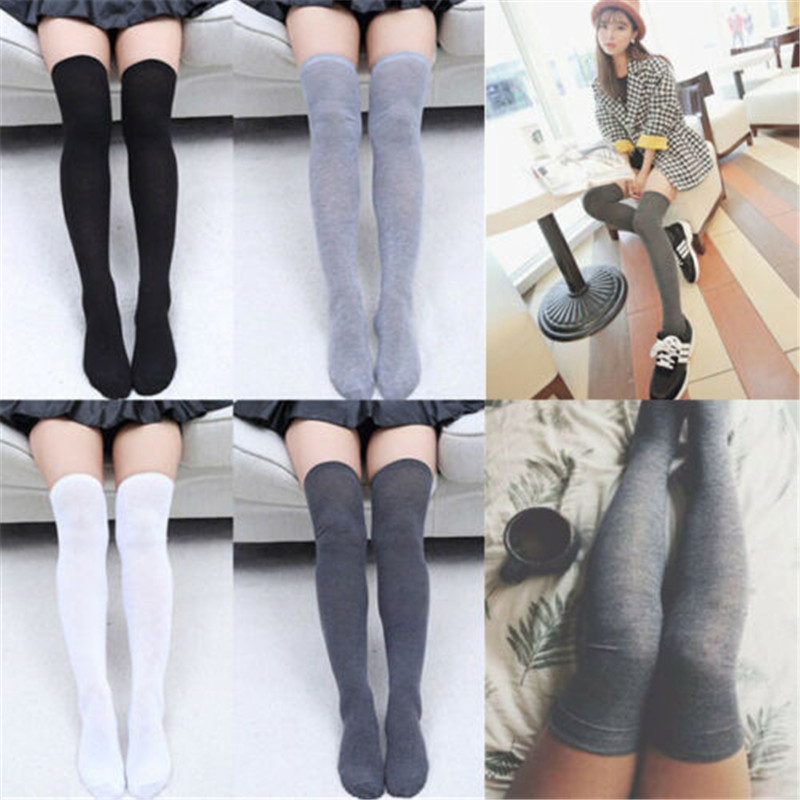 Fashion Women Sexy Knit Cotton Over The Knee Long  Ladies Hold-Up Stockings With Knitting Cotton Thigh High Soft Stocking
