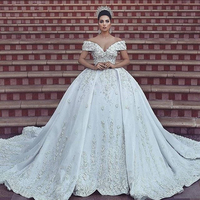 White Ball Gown Dresses For Wedding Custom Made Elegant Lace Appliques Formal Party Dresses Off the Shoulder Long Bridal Dress
