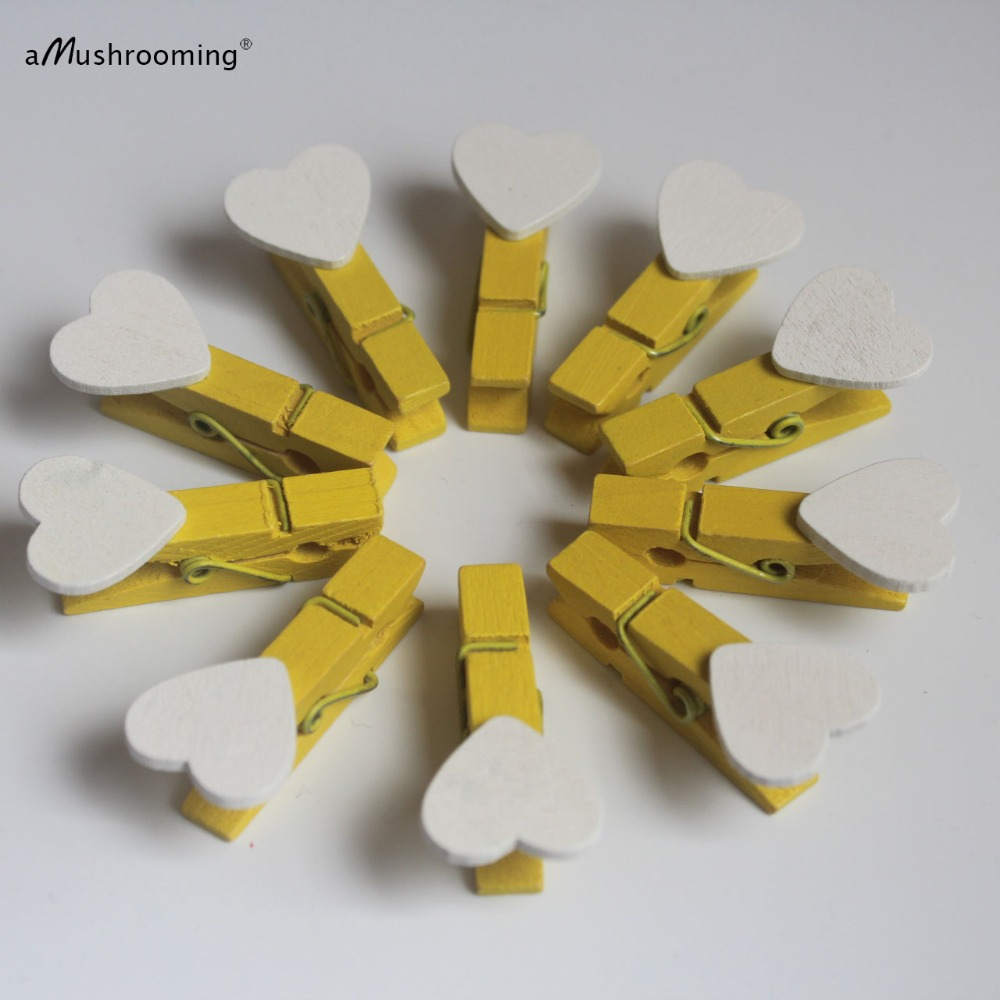 10 Yellow Sunshine Clothespins Love Heart Banner Mini Wooden Clips ...