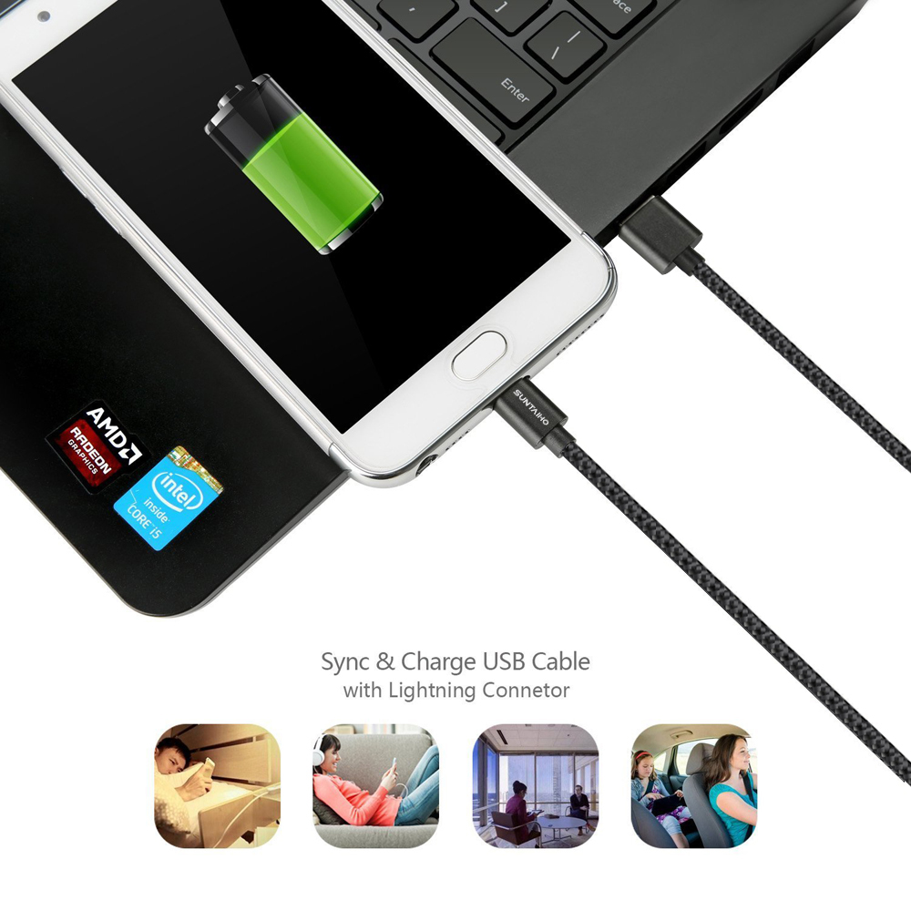 Suntaiho 1 М/2 М/3 М Нейлон Металлические Кабель Micro Usb Быстрой Зарядки 5 В/2.1A/8pin USB кабель для iPhone 6 6 s Plus 5s 5 iPad mini/Samsung
