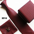 Unique fashion necktie set for Christmas handerchief + cuff link + gift box + cravates red with plaids Free shipping