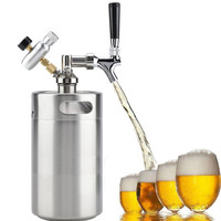 TTLIFE Kegs 5L Durable Wine Beer Brewing Craft Dispenser Growler System Mini Stainless Steel Beer Keg with Faucet Pressurized