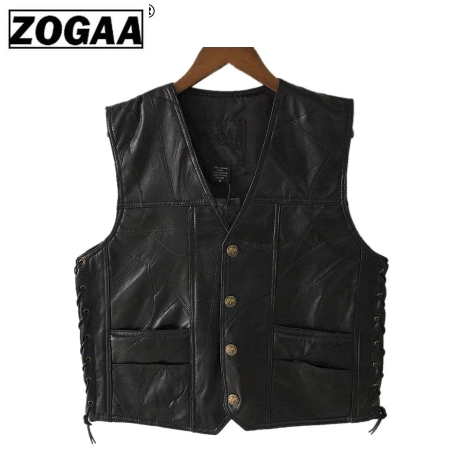 Motorcycle Vest Leather Men's Black Waistcoat Male Biker Punk Genuine Leather Button Lace Up Autumn Sleeveless Jacket For Men