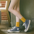 Pile of pile of socks female autumn sock preppy style women's socks 100% cotton socks solid color all-match