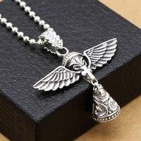 Handmade 925 silver Angel bell pendant vintage sterling silver bell amulet vintage jewlery gift necklace pendant
