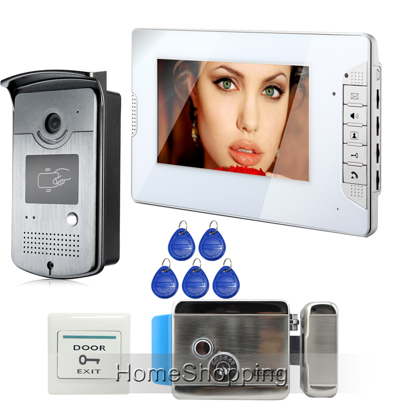FREE SHIPPING Wired 7 Color Video Intercom Door Phone System 1 White Monitor + 1 HD 700TVL RFID Camera + Electric Lock In Stock