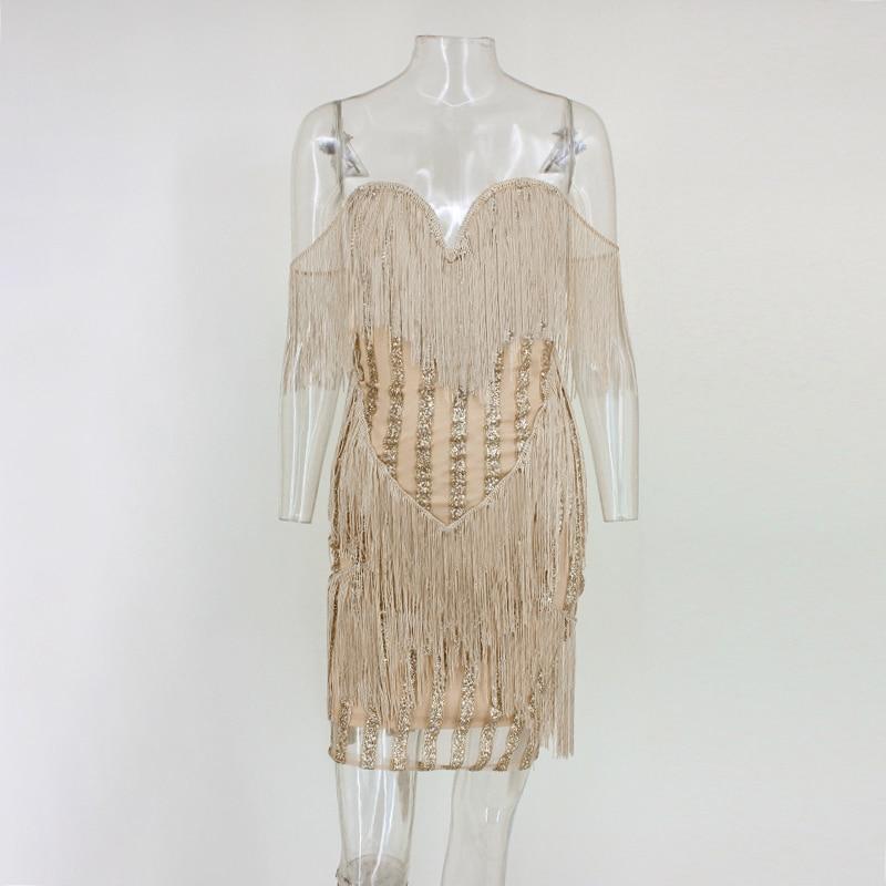 85fc3053b3 Ohvera Tassel Sequin Lace Dress Women Backless Sexy Club Party Dress Summer  2018 Strapless Bodycon Midi Dresses Elegant Vestido