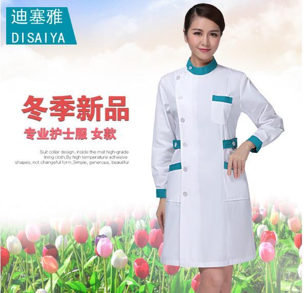 Winter thickening long-sleeve Doctor work wear white coat female eco-friendly antibiotic nurse uniform fashionable design