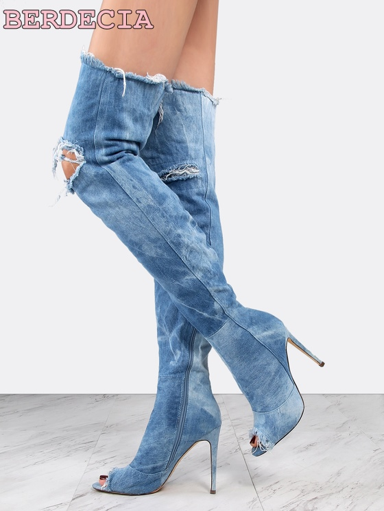 Newest peep toe blue denim thin heels woman sexy over the knee thigh high boots cut-outs gladiator boots 2017 thin heels boots choudory 2017 runway denim blue over the knee boots sexy open toe high heel boots woman thigh high boots thin heels jeans boots