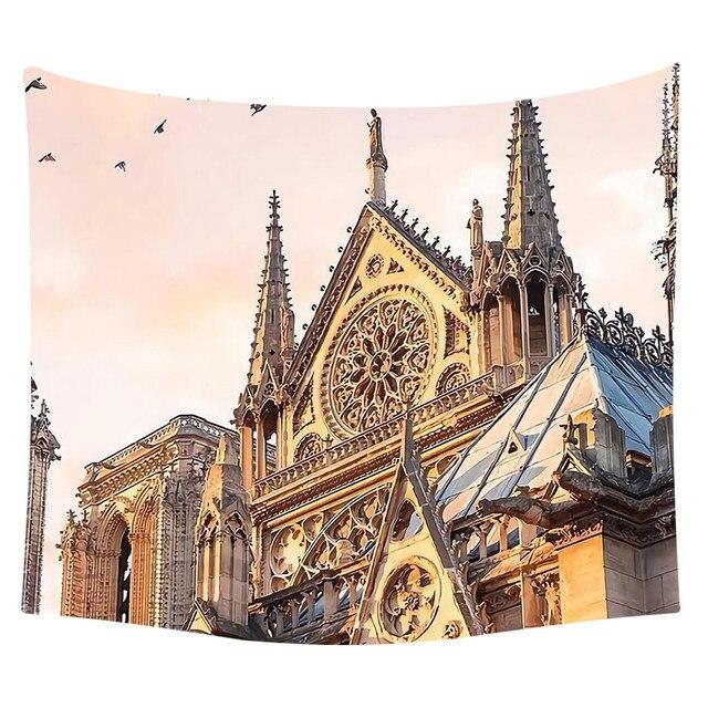 Gajjar Seni Notre Dame Dinding Digital Cetak Permadani Dekorasi Agama BoHo Karpet Dinding Bohemia Beach Selimut Dekorasi Dropshipping 418 W
