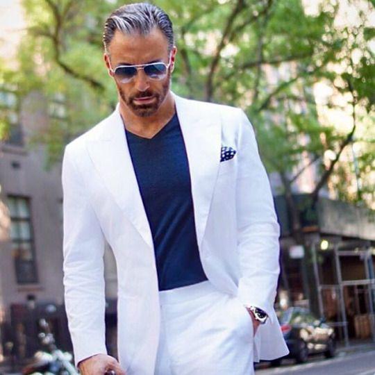 Gentle Men Suits White 2 pieces Groom Wedding Suits Slim Fit Best Man Mens Tuxedos Terno ...