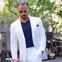 Gentle Men Suits White 2 pieces Groom Wedding Suits Slim Fit Best Man Mens Tuxedos Terno Masculino Smoking Blazer Custom